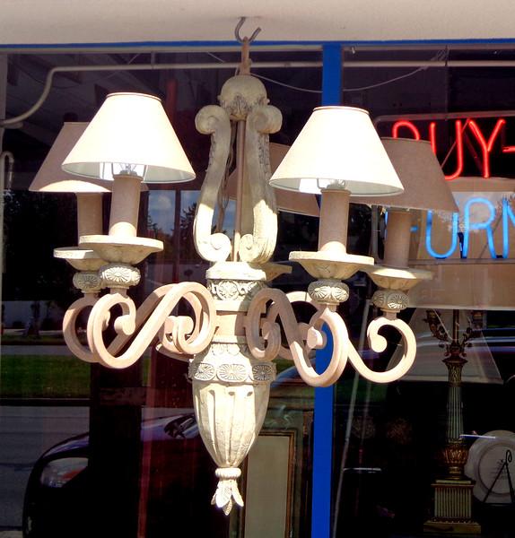 Premium Stone and Cast Iron Hanging Lamp.  27 x 28.  <b>$225</b>