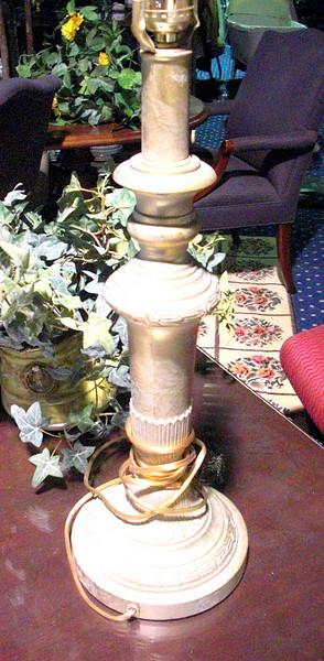 "Brushed Brass Lamp. 21"" <b>$35</b>"