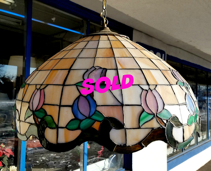 Amazing Extra Large Vintage Stained Glass Hanging Lamp in Excellent Condition. Extra Nice.  21 x 14.  <b>$150</b>