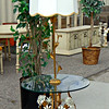 Beautiful Wrought Iron Glass Top French Provincial End Table Lamp.  25 x 65.   <b></b>