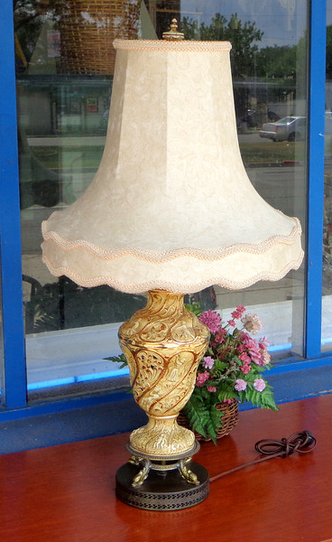 Provincial Cherub Table Lamp with Ornate Shade.  19 x 35.  <b>$65</b>