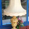 Provincial Cherub Table Lamp with Ornate Shade.  19 x 35.  <b>$65</b>