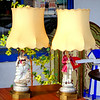 Set of 2 1920's Hand Painted Porcelain French Provincial Figurine Table Lamps.  Exquisite premium lamps with shades, delicate hand painted details.  Lamps like these are very difficult to find. 20 x 34.  <b>$250 for the set. </b>