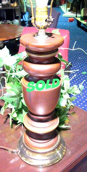"""Tiered Wood Lamp.  27"""" <b>$20</b>"""
