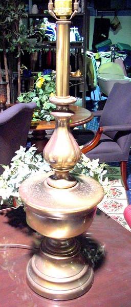 """Tall Brass Lamp. 36""""  <b>$60</b>"""