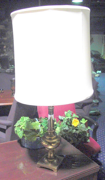 "Brass Lamp with Square Platform Base plus Shade. 37"" <b>$50</b>"