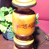 "Wood Lamp with Delicate Floral Ribbon with Brass Base. 30"" <b>$30</b>"