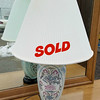 Elegant Blue Floral Porcelain Table Lamp in Excellent Condition.  <b>$45</b>
