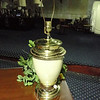 Beige & Brass table Lamp.  25-Inches.  <b>$30</b>