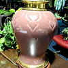 "Mauve Ceramic Lamp with Brass Bezel at Base.  30"" <b>$35</b>"