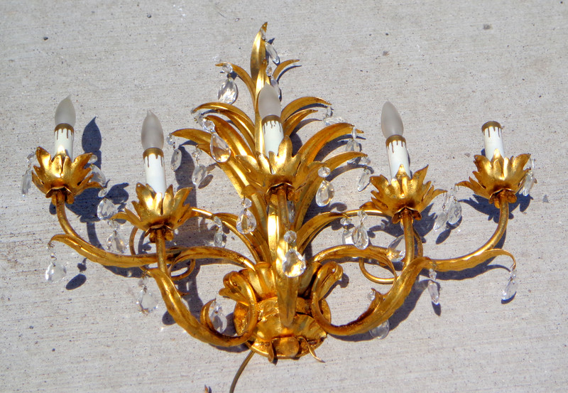 Unique 5-Lamp French Provincial Wall Sconce.  <b>$160</b>