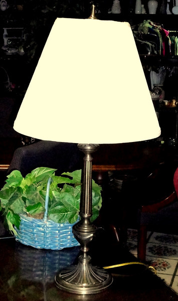 "Thin Brass Table Lamp with Elegant Shade.  31""  <B>$35</B>"