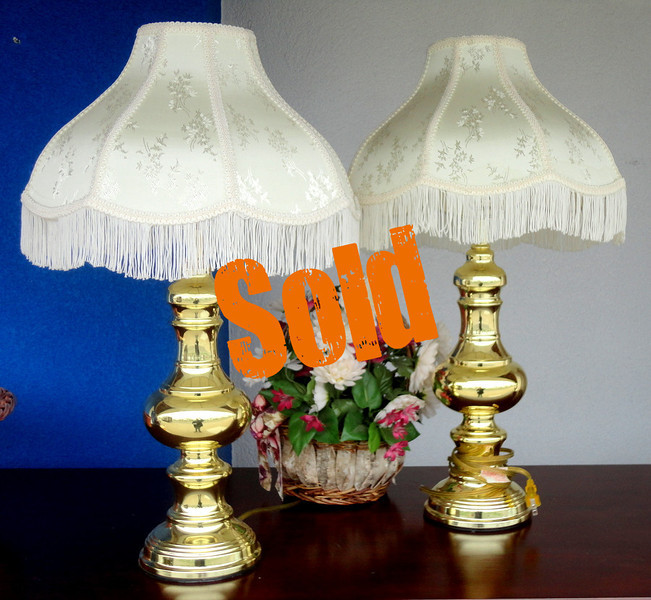 Attractive Set of 2 Table Lamps with Ornate Shades.  15 x 26.  <b>$75 for the set.</b>