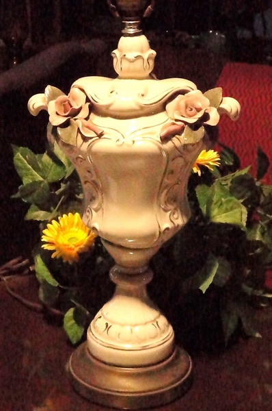 """Ornate Ivory Lamp with Porcelain Rosettes and Painted Gold Accents. 33""""  <i><b>Over 150 NEW Additions to our website's Lamps & Lighting Gallery Section March 6th!!! </i></b>    Be sure to check them out.  From basic to ornate, we have floor and table lamps for everyone<b>$125</b>"""