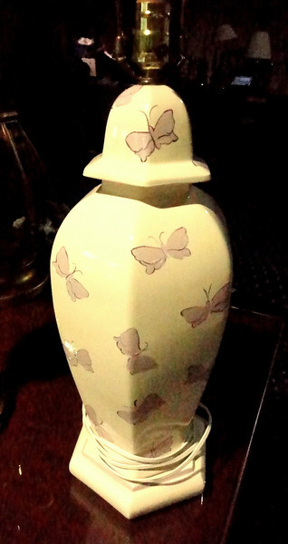 "Beige with Lavender Butterfly Accents Table Lamp.  32""  <b>$30</b>"