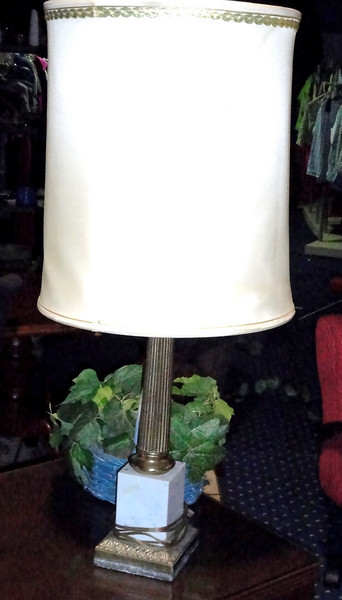 """Brass Tower Table Lamp with Shade.  31"""". <b>$65</b>"""