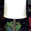 "Brass Tower Table Lamp with Shade.  31"". <b>$65</b>"