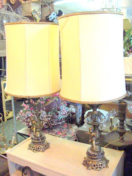 Set of 2 Antique Cherub Table Lamps with Marble Accents.  Shades need repair or replacement. 14 x 35.  <b>$150</b>