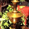 "Brushed Gold Lamp on Wood Base. 30"" <b> $35</b>"