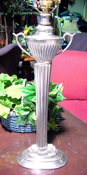"""Silver Cup Trophy-Styled Handle Lamp. 24"""" <b>$45</b>"""