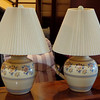 Set of 2 Elegant Floral Adorned Table Lamps.  21 x 27.  <b>$65 for the set.</b>