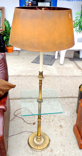 Retro Glass Top End Table Lamp.  <b>$95</b>