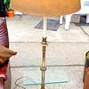 Retro Glass Top End Table Lamp.  <b>$95</b>