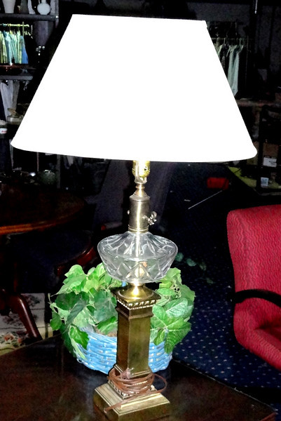 Brass Table Lamp with Glass and Shade.  <b>$60</b>