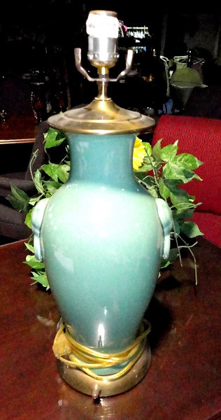 Green Lamp with Brass Base. <b>$35</b>