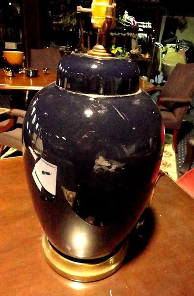 """Dark Royal Blue Ceramic Lamp. 28"""" <b> $15 </b>"""