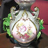 "Ornate Vintage Painted Porcelain Lamp - Mint Green with Painted Flower Medallion and Gold Accents. 30"" <b>$75</b>"