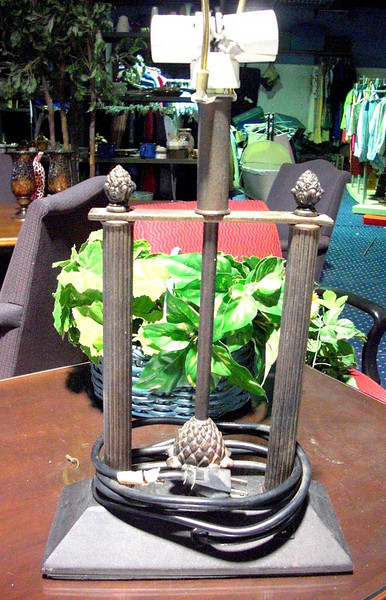 Double Pillar Cast Iron Lamp with Pine Accents (2-bulb). <b>$20  </b>