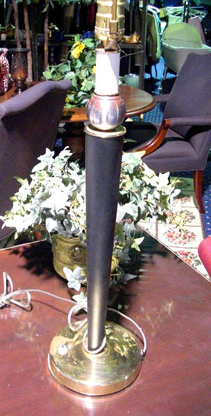 "Tall Black Candlestick Lamp with Brass Base & Accents. 31"" <b>$20</b>"