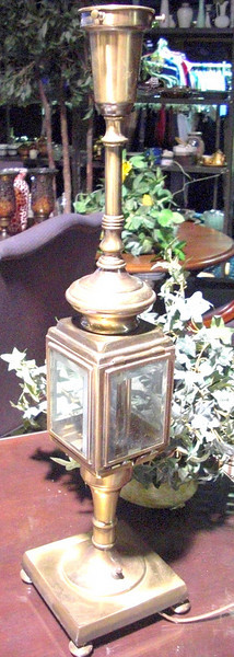 "Brass Lamp with Glass Lighthouse. 25"" <b>$65</b>"