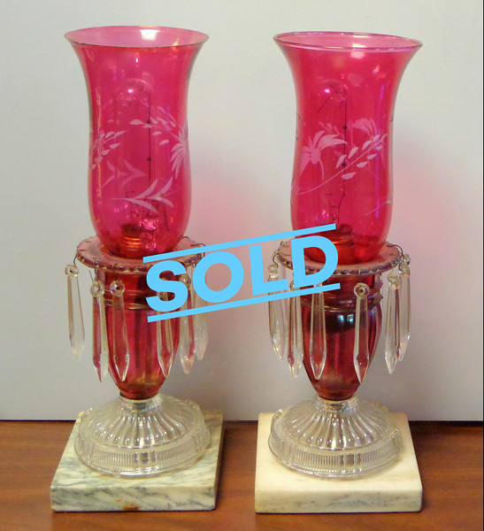 Cranberry Red Boudoir Lamps