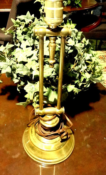 "Brass Lamp with Double Pillar Base. 18"" <b>$40</b>"