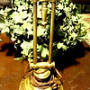"Brass Lamp with Double Pillar Base. 18"" <b>$40</b>"