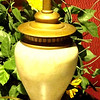 "Beige Ceramic Lamp with Gold Accents. 18"" <b>$30</b>"