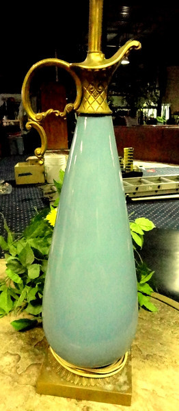 "Turquoise Lamp with Handled Vase Styling.   40"". <b>$40</b>"