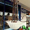 Attractive Wrought Iron &amp; Frosted Glass Chandelier.  25 x 32.  <b>$85</b>