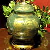 "Green & Gold Lamp with Brass Base.  26"" <b>$45</b>"