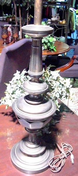 "Tarnished Brass Lamp. 27"" <b>$40</b>"