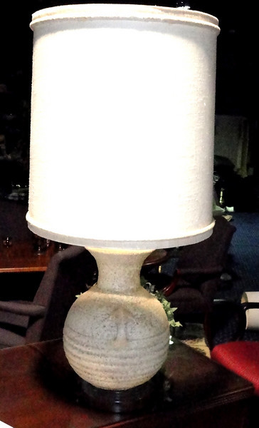 """Malted Ivory Globe Lamp with Black Accent Base. 41"""" <b>$55</b>"""