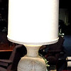 "Malted Ivory Globe Lamp with Black Accent Base. 41"" <b>$55</b>"
