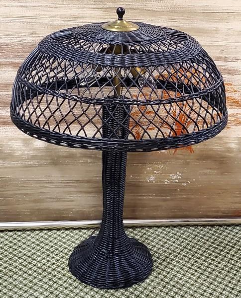 Antique Black Wicker Table Lamp