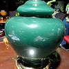 "Forest Green Ceramic Lamp with Brass Base.  19""  <b>$35</b>"