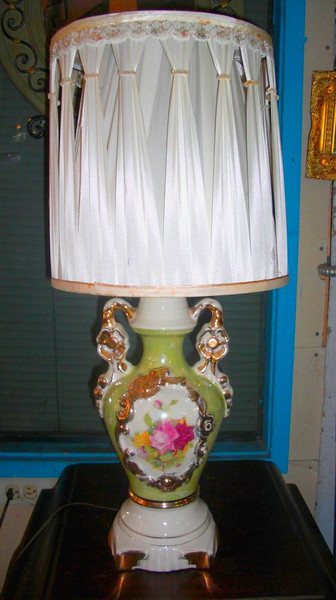 Ornate Table Lamp With Delicate Ivory White Shade.  12 x 27.  Don't forget to check out the Lamps & Lighting Section of our website to see our wide selection of table, wall and floor lamps.  You could easily satisfy all your lighting needs shopping at our store with just a little imagination.  Stop by and find out for yourself.  <b>$135</b>
