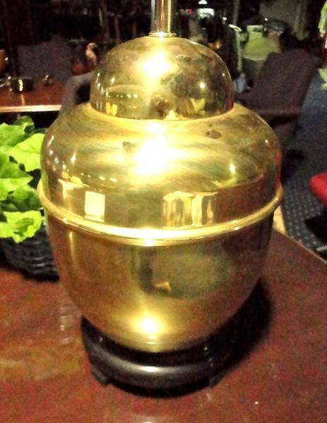 "Shiny Brass Lamp. 26"" <b>$30</b>"
