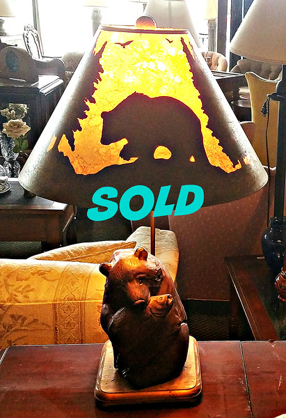 Bear with Salmon Table Lamp