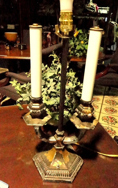 """Candelabra-Look Table Lamp with Antique Gold Base. 24"""" <b>$60</b>"""